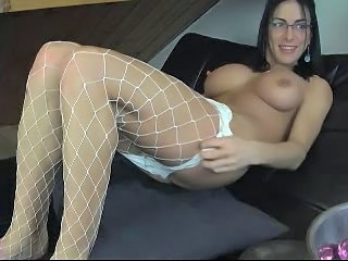 Big Tits Fishnet Glasses Masturbating MILF Webcam