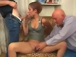 Big cock Blowjob Old and Young Threesome