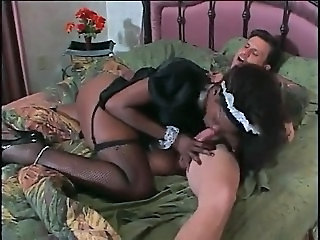 Blowjob Ebony Interracial Maid Stockings