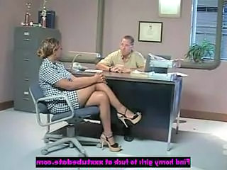 Ebony Interracial Legs MILF Office