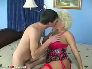 Blonde Kissing Lingerie Mature Stockings
