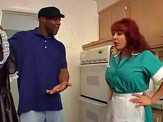 Interracial Kitchen Maid MILF Redhead Uniform