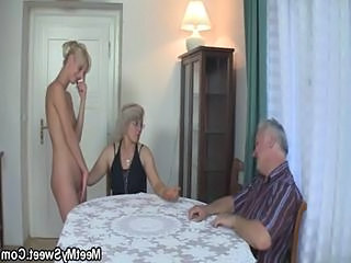 Daddy Daughter Family Mature Mom Old and Young Threesome