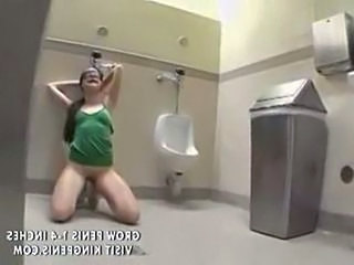 Blowjob Brunette Slave Toilet