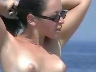 Beach Brunette Glasses MILF Nudist