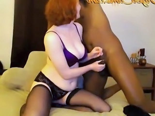 Handjob Interracial Lingerie Redhead Stockings