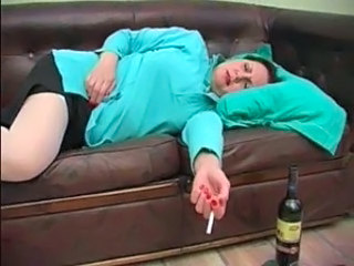 Drunk Mature Sleeping Smoking