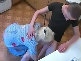 Amateur Blonde Blowjob Homemade Kitchen Mature Mom Old and Young