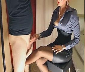 Amazing Cumshot Handjob Legs MILF Stockings