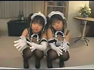 Amateur Asian Japanese Maid Teen Twins Uniform