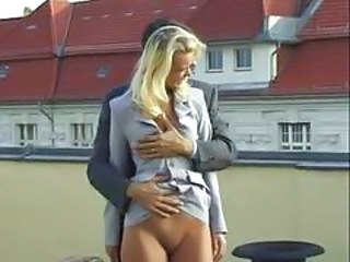 Blonde European German MILF Outdoor