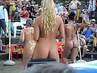 Amateur Dancing Nudist Oiled Public