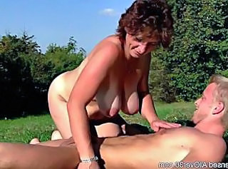 Big Tits Mature Mom Natural Old and Young Outdoor