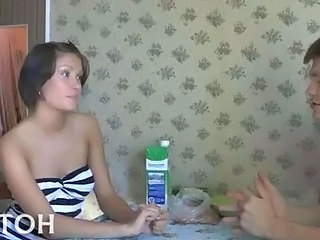 Amateur Girlfriend Kitchen Man Russian Teen