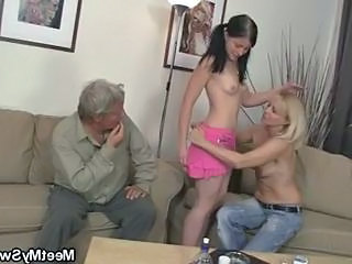 Old and Young Pigtail Skinny Threesome