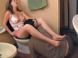 Licking MILF Orgasm Toilet