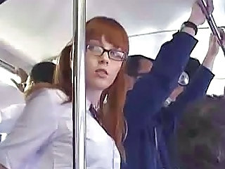Asian Bus Glasses Japanese Public Teen Uniform