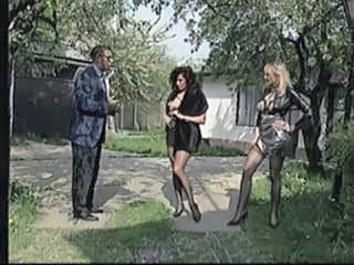 MILF Outdoor Stockings Threesome