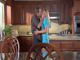 Blonde Erotic Kissing Kitchen