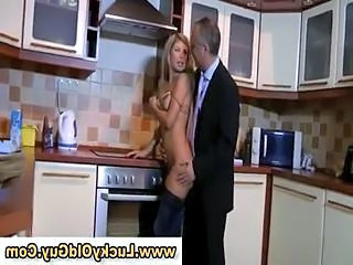 Amazing Daddy Daughter European Kitchen Old and Young Teen
