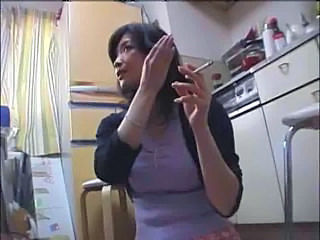 Asian Kitchen MILF Smoking Wife