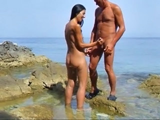 Beach Handjob Mature Nudist
