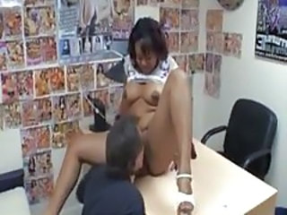 Asian Licking MILF Office