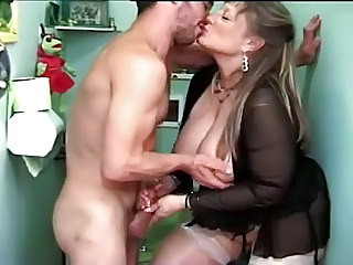 BBW Big Tits Handjob Lingerie Mature Mom Natural Old and Young