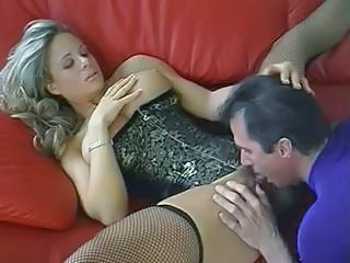 Amazing Corset Cute Licking MILF Stockings