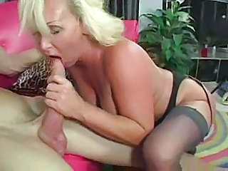 Big cock Blonde Blowjob Mature Stockings