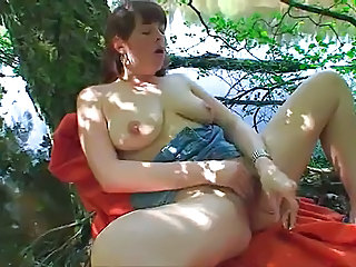 Chubby Masturbating Natural Outdoor SaggyTits Solo Toy