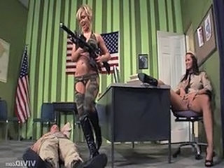 Army MILF Pornstar Threesome Uniform