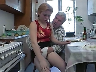 Amateur Daddy Daughter Homemade Kitchen Old and Young Teen