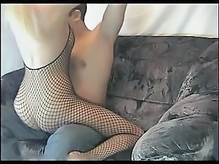 Blonde Fishnet Homemade Pantyhose Riding