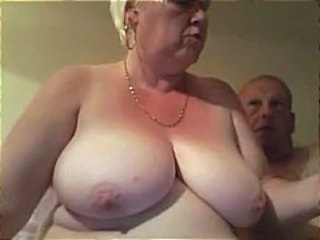 Fat old blonde inexpert granny spreads her plump pussy wide an gets nailed by hubby