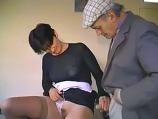 French Handjob Old and Young Stockings