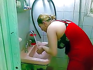 Amateur Arab Bathroom Wife