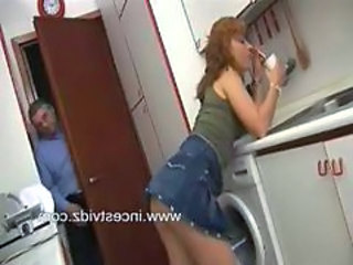Daddy Daughter Kitchen Old and Young Skirt Teen Voyeur