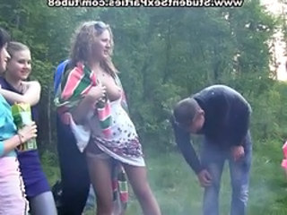 Outdoor Party Russian Student Squirt