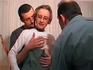 French Glasses Teen Threesome