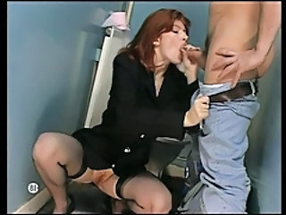 Blowjob Clothed MILF Redhead Stockings