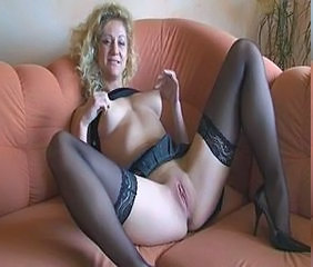 Amateur Blonde European German MILF Nipples Pussy Shaved Stockings