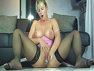 Masturbating MILF Mom Orgasm Stockings Toy