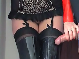 European Handjob Latex Stockings