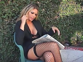 Amazing Fishnet MILF Outdoor Pornstar Stockings