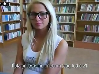 Amateur Blonde Glasses Student Teen