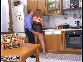 BBW Kitchen Lingerie MILF Wife