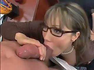 Amazing Blowjob Glasses MILF Office Secretary
