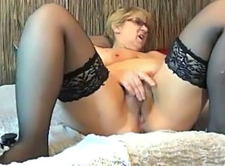Amateur Glasses Masturbating Mature Solo Stockings