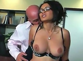 Amazing Glasses MILF Natural Office Secretary